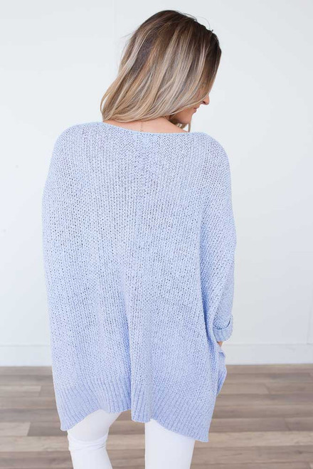 Open Knit High Low Sweater - Arctic Blue