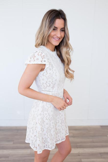 Cap Sleeve Floral Crochet Dress - White