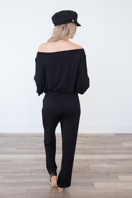 Off the Shoulder Drawstring Jumpsuit - Black