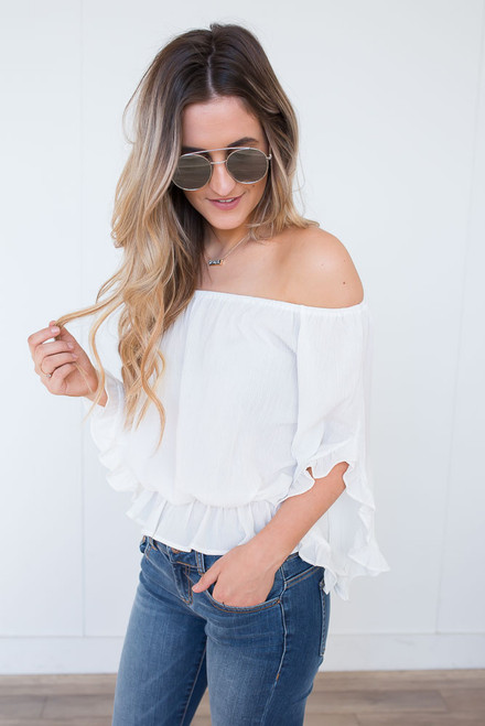 Off the Shoulder Ruffle Top - White