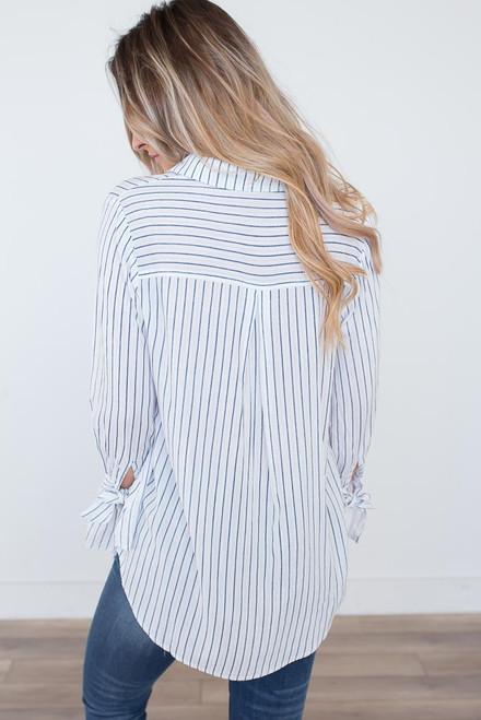 V-Neck Striped Tie Sleeve Top - White/Navy