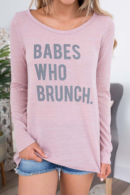 Babes Who Brunch Top - Dusty Rose/Grey - FINAL SALE