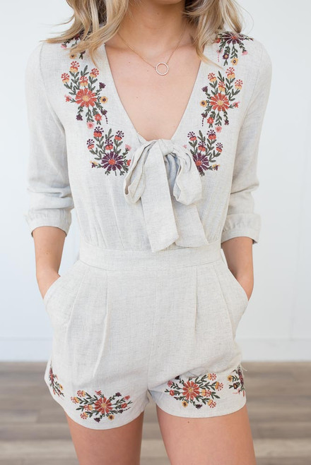 Floral Embroidered Linen Romper - Natural