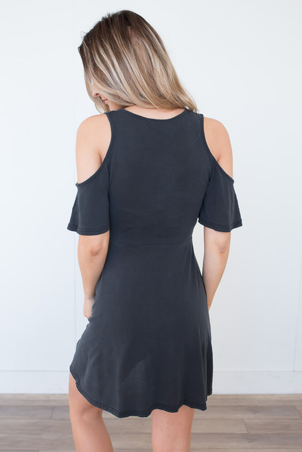 Cold Shoulder Modal Dress - Faded Black  -  FINAL SALE