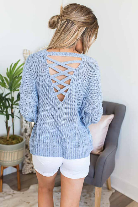 Criss Cross Back Sweater - Arctic Blue