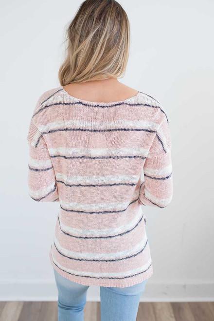 Lightweight High Low Striped Sweater - Light Pink/Navy -  FINAL SALE