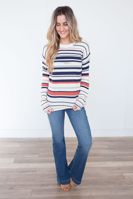 Crewneck Striped Sweater - Navy Multi
