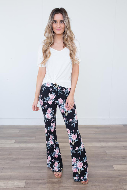 Floral Flare Lounge Pants - Black Multi