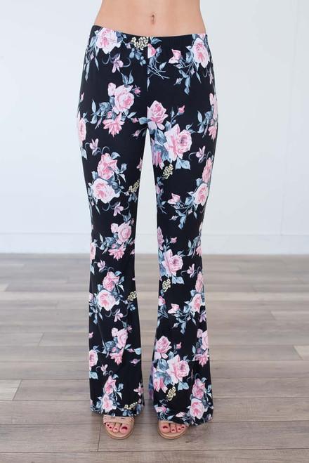 Floral Flare Lounge Pants - Black Multi -  FINAL SALE