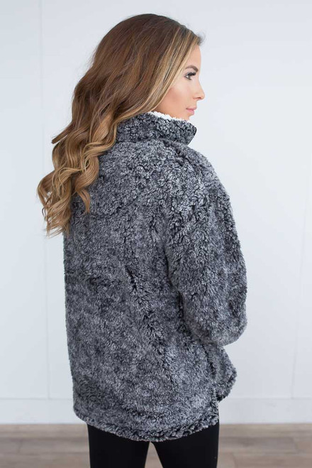 Ski Lodge Half Zip Wubby Pullover - Charcoal -  FINAL SALE