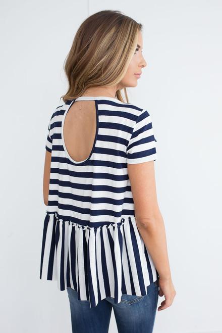 Striped Keyhole Back Babydoll Top - Navy/White