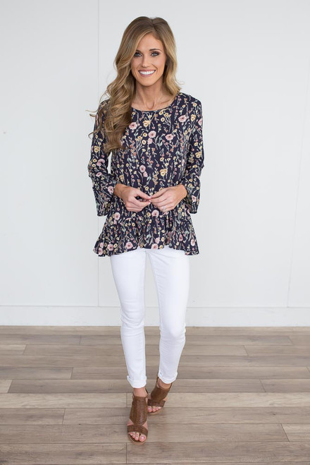 Floral Ruffle Detail Blouse - Navy