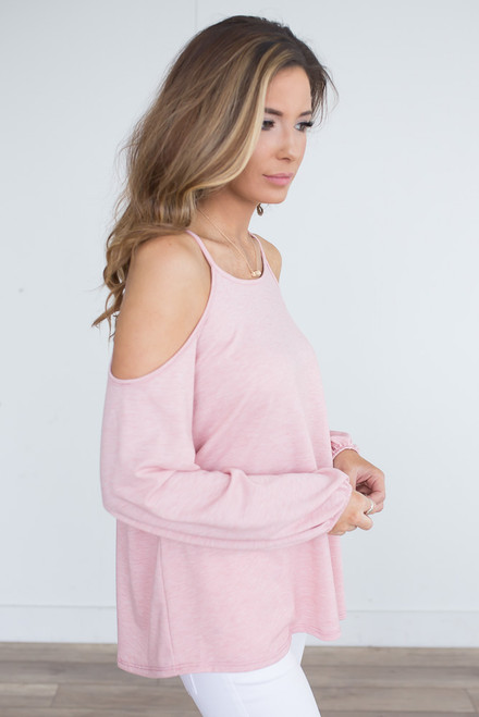 Long Sleeve Cold Shoulder Top - Heather Pink -  FINAL SALE