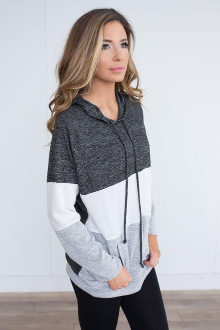 Colorblock Drawstring Hoodie - Charcoal/White/Grey