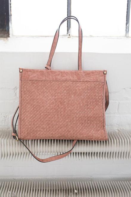 Distressed Woven Tote Handbag - Rose