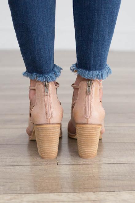 Hadley Cutout Peep Toe Booties - Beige Rose