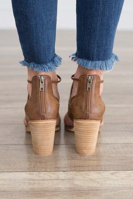 Hadley Cutout Peep Toe Booties - Brown