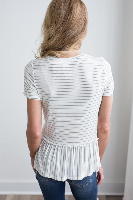 Short Sleeve Striped Peplum Top - Ivory/Black