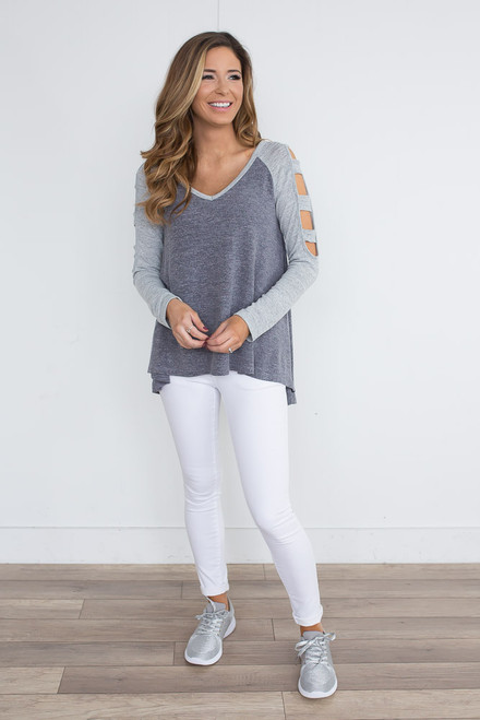 Ladder Cutout Raglan Top - Heather Navy/Grey