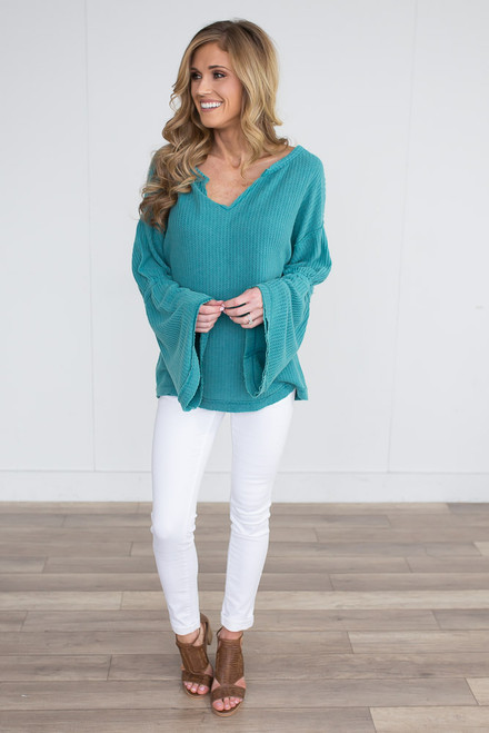 Waffle Knit Bell Sleeve Top - Faded Jade