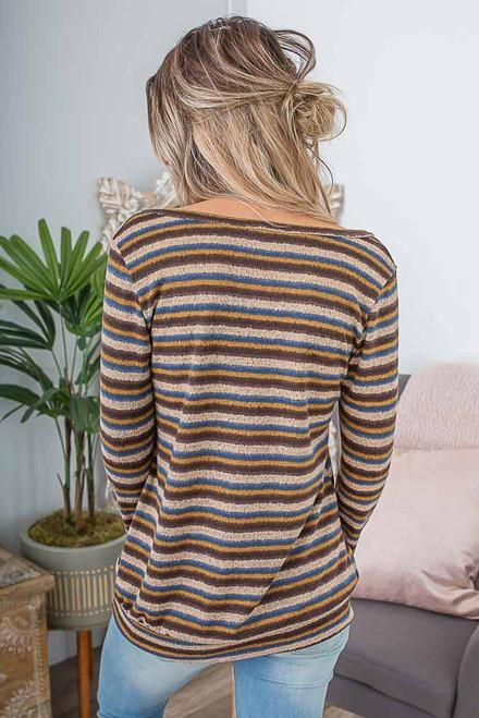 Soft Brushed Striped V-Neck Top - Brown Multi -  FINAL SALE