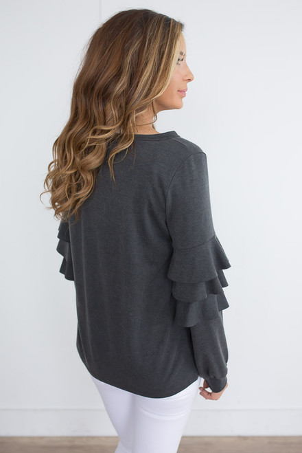 Tiered Ruffle Sleeve Top - Charcoal -  FINAL SALE