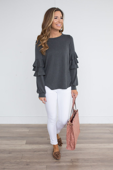 Tiered Ruffle Sleeve Top - Charcoal