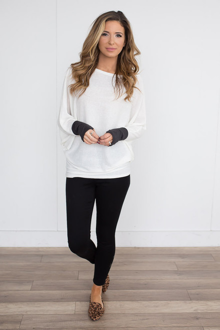 Contrast Sleeve Dolman Top - Off White