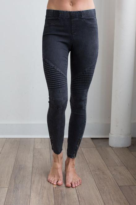Mineral Wash Zipper Moto Pants - Black - FINAL SALE