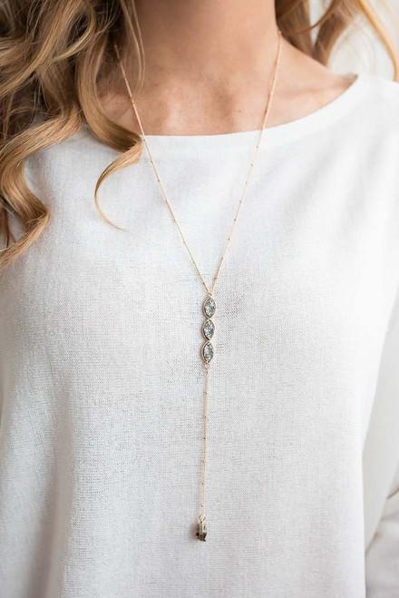 Almond Hematite Pendant Necklace - Gold/Grey