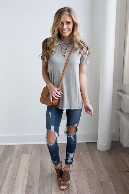 Mineral Wash Criss Cross Top - Olive