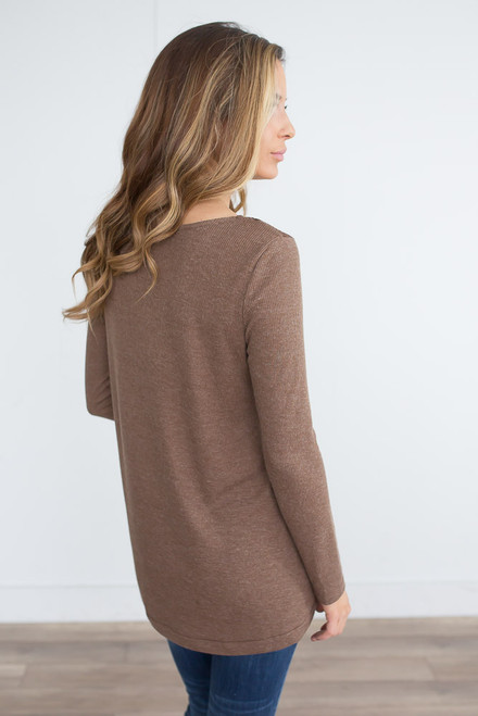 Lace Detail Henley Top - Toffee