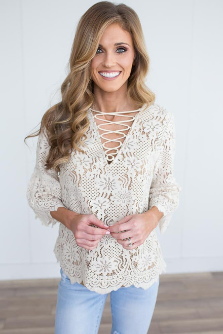 Lace Up Peplum Sleeve Lace Top - Natural