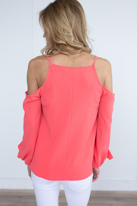 Cold Shoulder Ruffle Detail Top - Neon Coral