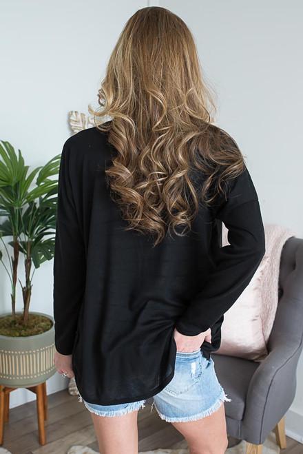 Long Sleeve High Low Surplice Top - Black -  FINAL SALE