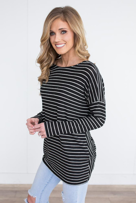 Soft Brushed Striped Knot Back Top - Black/White