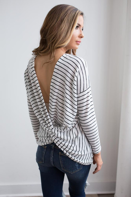 Soft Brushed Striped Knot Back Top - White/Black