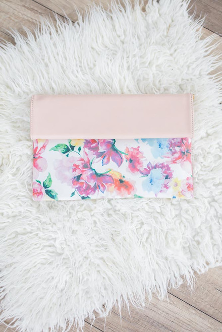 Floral Watercolor Foldover Clutch - Blush Multi