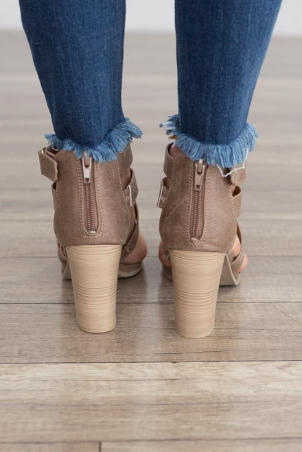 Gabrielle Distressed Strappy Heels - Taupe