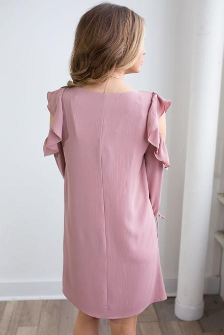 Open Shoulder Tie Sleeve Dress - Dusty Rose