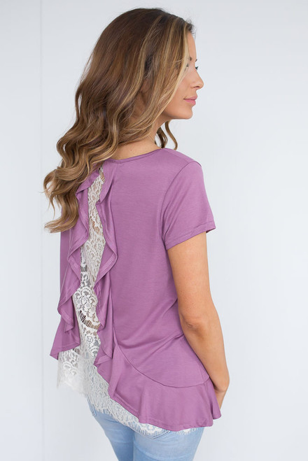 Ruffle Accented Lace Back Top  - Orchid