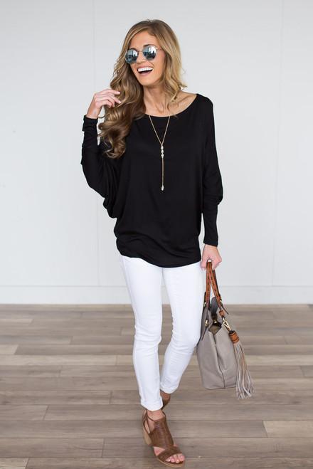 Harlow Dolman Knit Top - Black