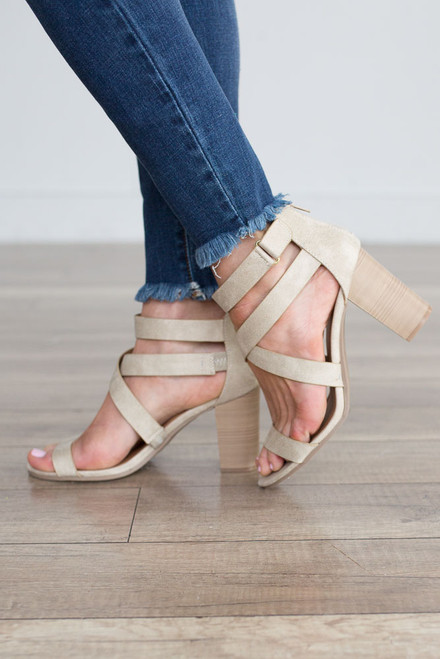 Gabrielle Distressed Strappy Heels - Stone