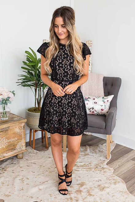 Cap Sleeve Floral Crochet Dress - Black -FINAL SALE