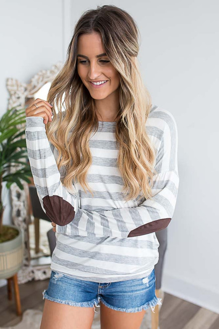 Striped Elbow Patch Top - Grey/Off White -  FINAL SALE