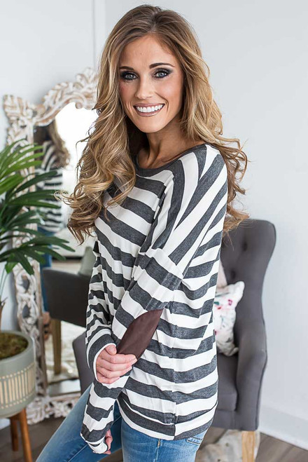 Striped Elbow Patch Top - Charcoal/Off White -  FINAL SALE