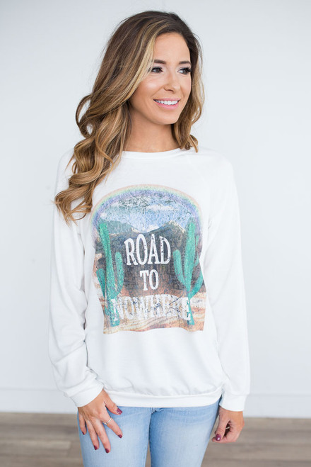 Road to Nowhere Graphic Pullover - Off White