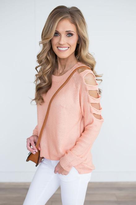 Lightweight Ladder Cutout Sweater - Peach