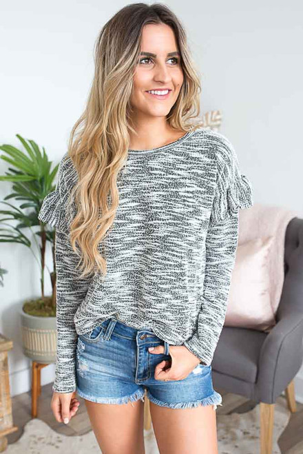 Two Tone Ruffle Sleeve Top - Black/White -  FINAL SALE