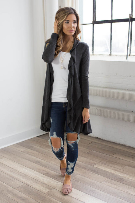 Ruffle Accented Cardigan - Charcoal